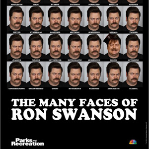 Many Faces of Ron Swanson Poster
