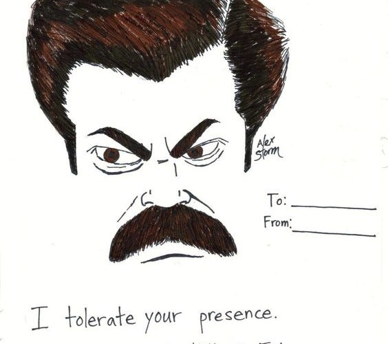Ron Swanson Valentine's Day Card by Alex Storm
