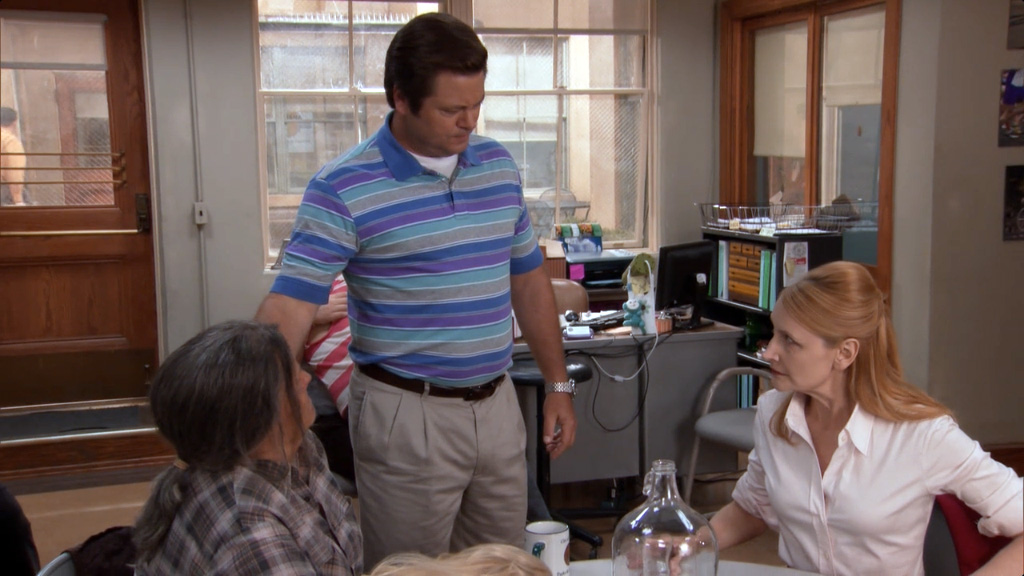 Ron Swanson with his mom Tammy, and ex-wife Tammy One.