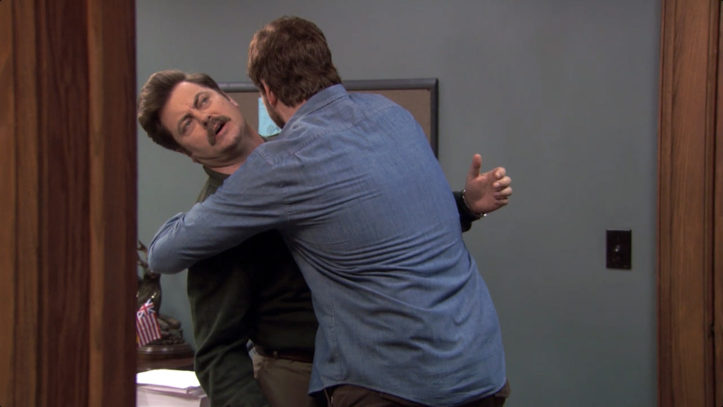 Ron Swanson does not like hugs