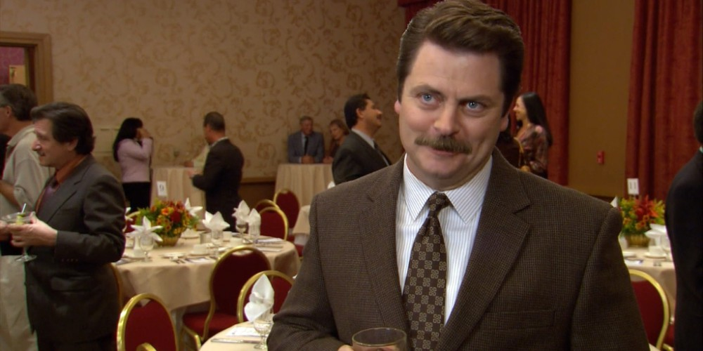 Ron Swanson Swanson's favorite foods are bacon and shrimp
