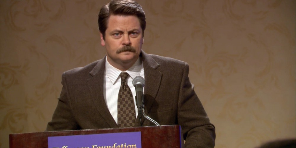 Ron Swanson compares Marlene to varnish