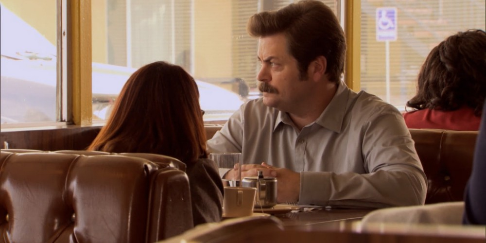 Ron Swanson and Tammy lunch image 2