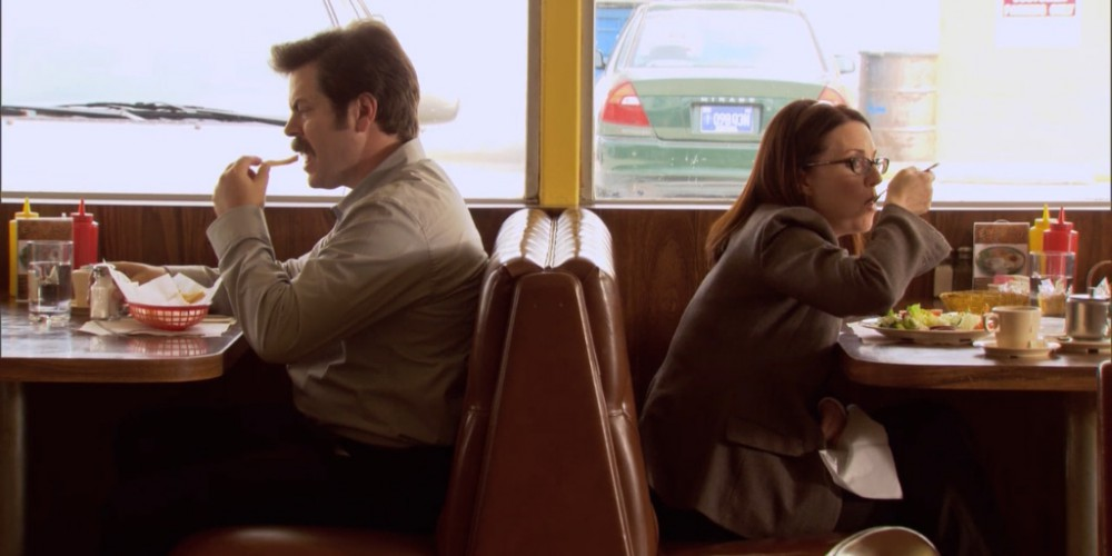 Ron Swanson and Tammy lunch image 4