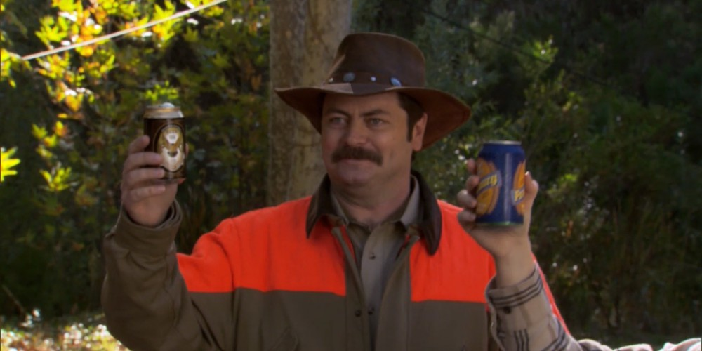 Ron Swanson leads a toast to the hunt.