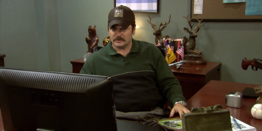 Ron Swanson listening to turkey calls.