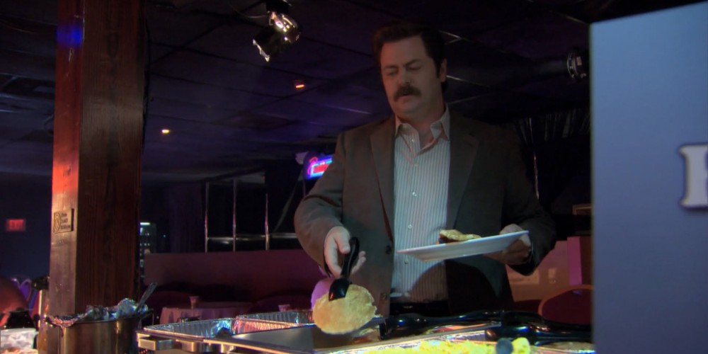 Ron Swanson strip club buffet 3