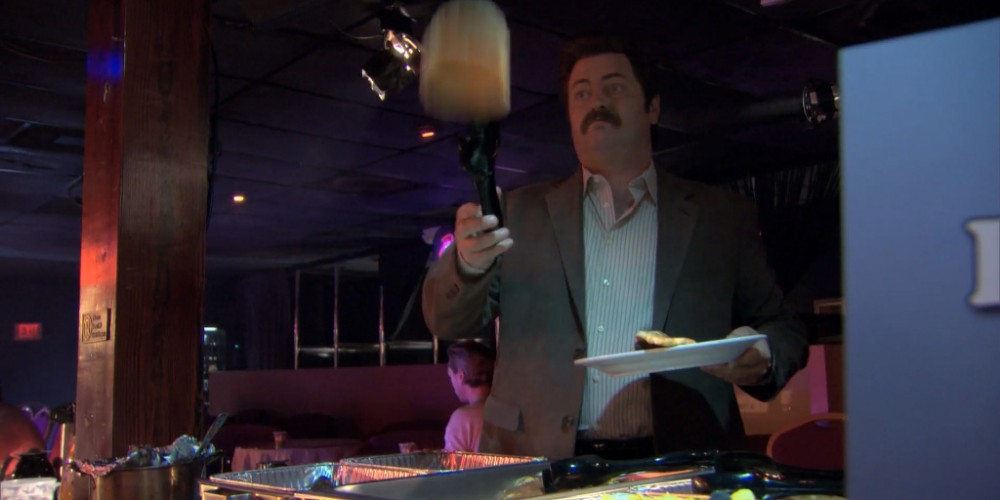 Ron Swanson strip club buffet 4