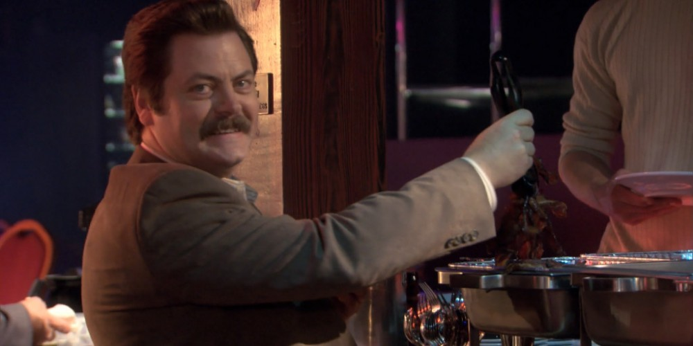 Ron Swanson strip club buffet 7