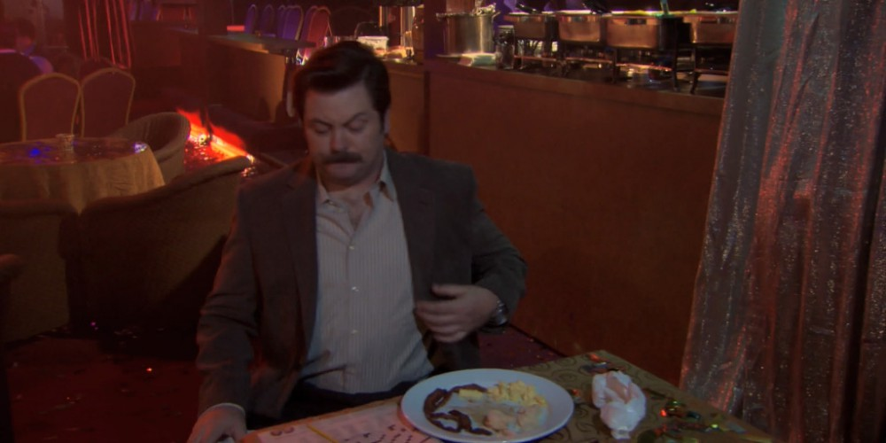 Ron Swanson strip club buffet 9