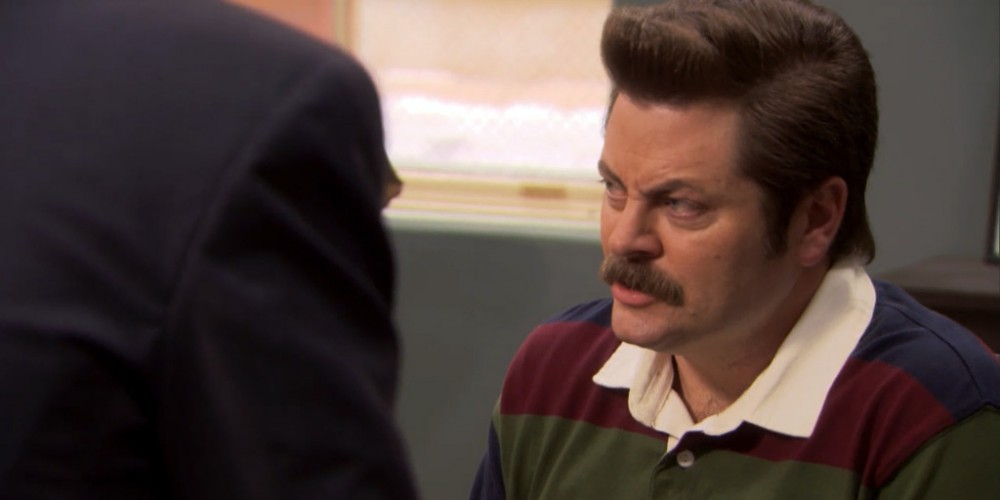 Ron Swanson was not impressed with Jean Ralphio.