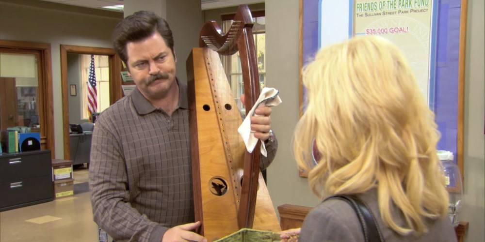 Ron Swanson crafted a harp.