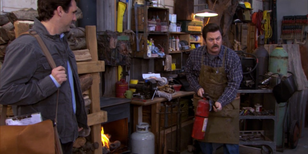 Ron Swanson and his fire extinguisher.