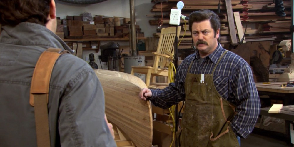 Inside Ron Swanson Swanson's wood shop image 8