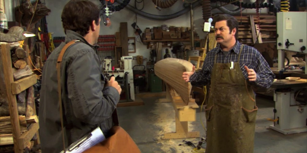 Mark Brendanawicz visits Ron Swanson Swanson's wood shop.