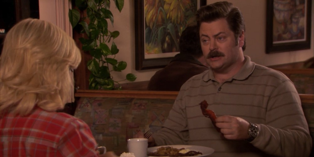 Ron Swanson and Leslie Knope discuss the wonders of breakfast food.