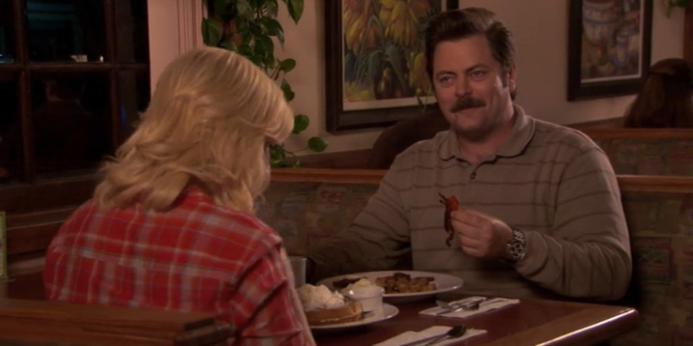 Ron Swanson enjoying some bacon.