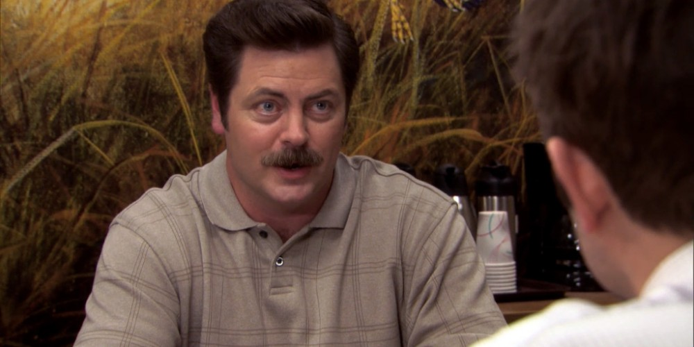 Ron Swanson Swanson's reactions to Ben cutting the budget picture 2