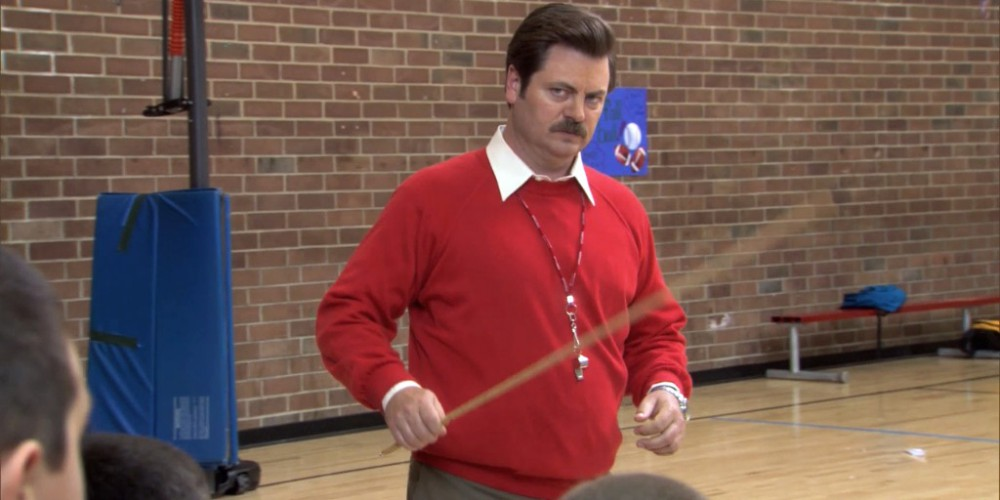 Ron Swanson is coaching a boys basketball team