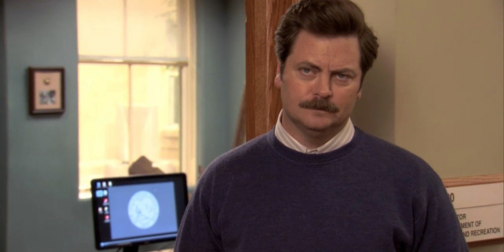 Ron Swanson is surrounded by women