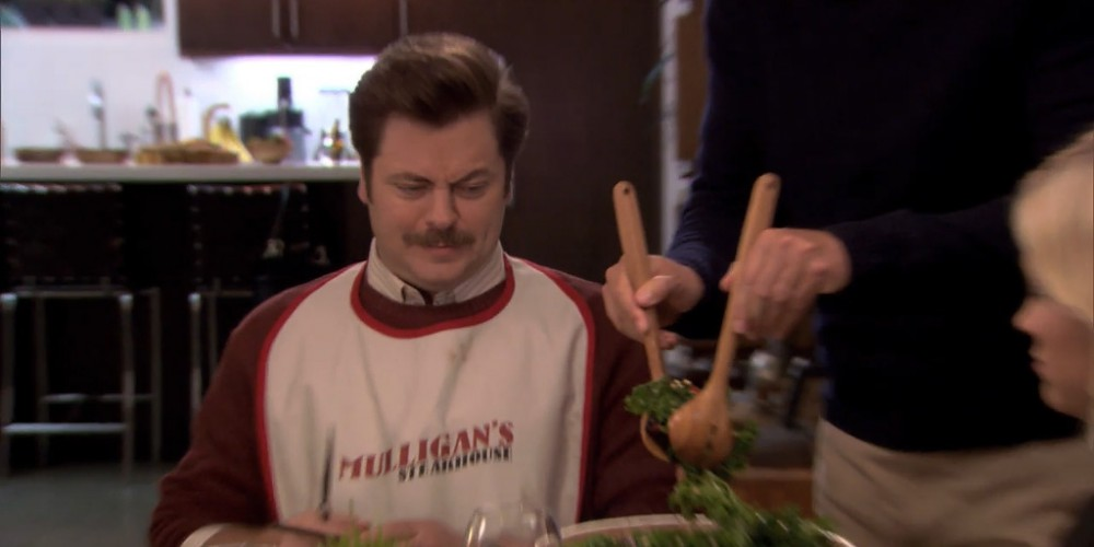 Ron Swanson gets offered a salad.