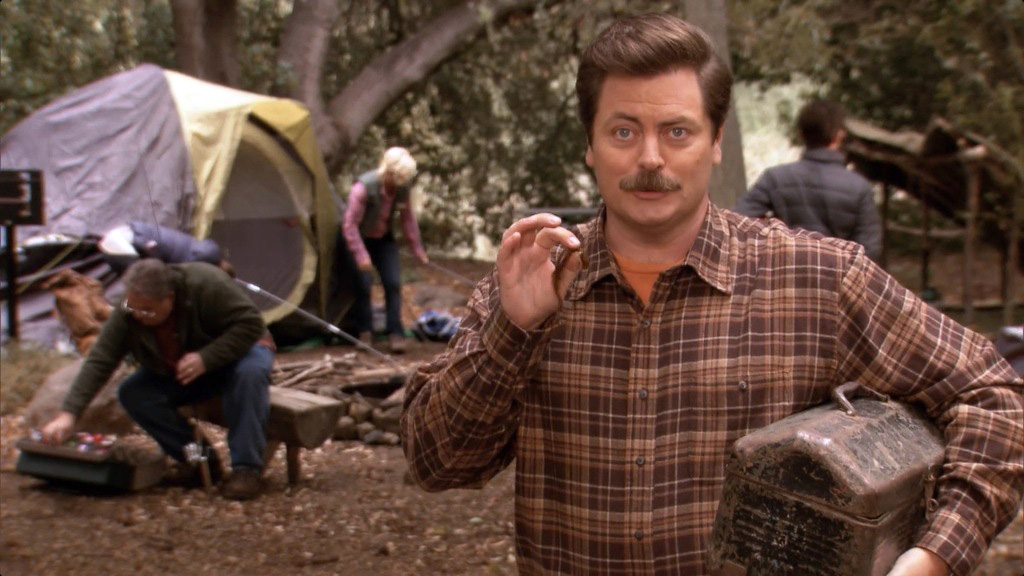 Ep 08 camping fishing relaxes me ron swanson quotes for Camping and fishing near me