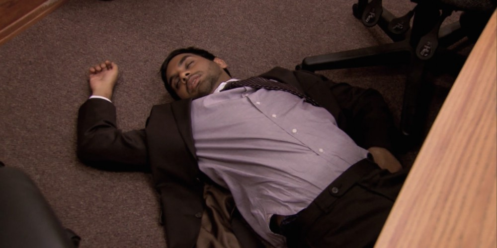Tom Haverford fainted