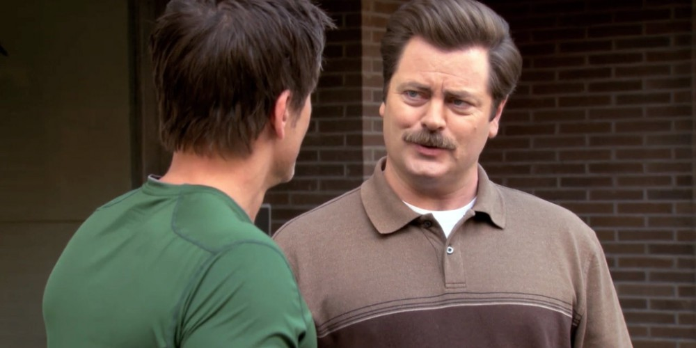 Chris Traeger and Ron Swanson burger cook-off