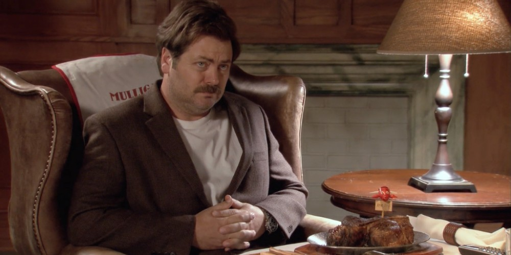 Ron Swanson Swanson's birthday meal.