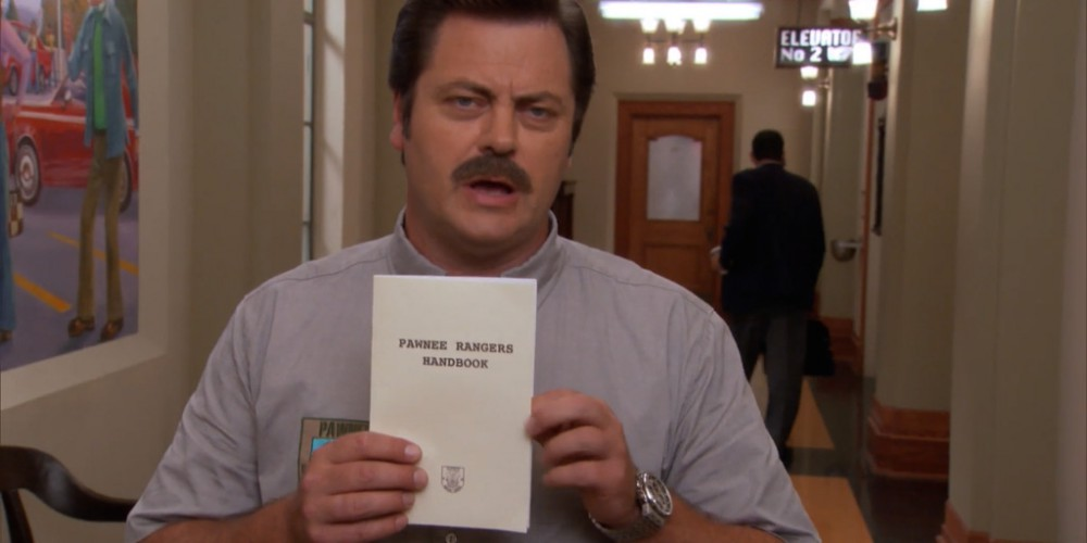 Ron Swanson wrote the Pawnee Ranger Handbook picture 2