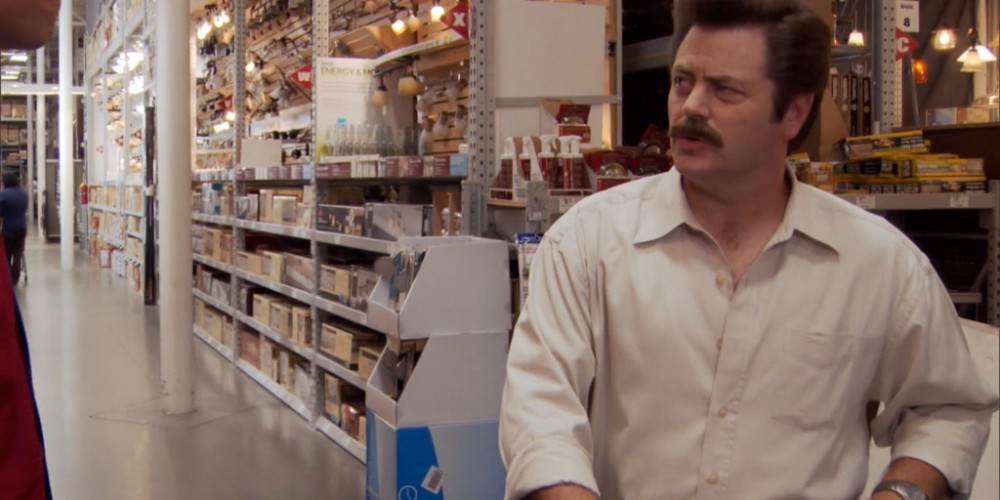 Ron Swanson walking through Lowes.