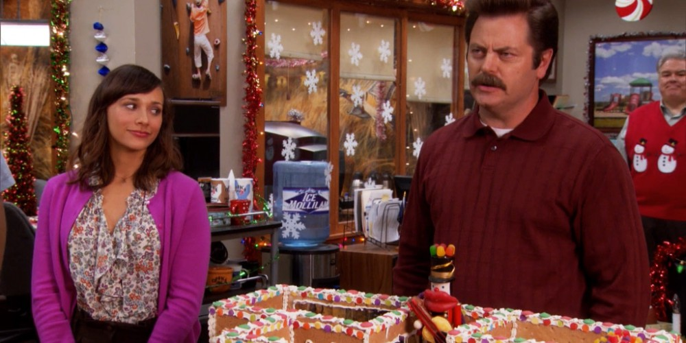 Ron Swanson cannot make a ginger bread house