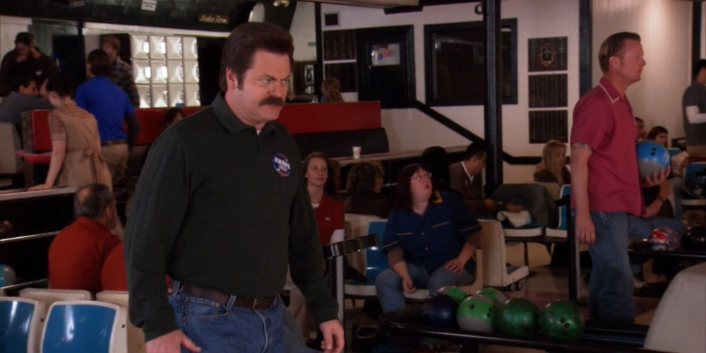 Ron Swanson grows more frustrated with Tom's bowling picture 1