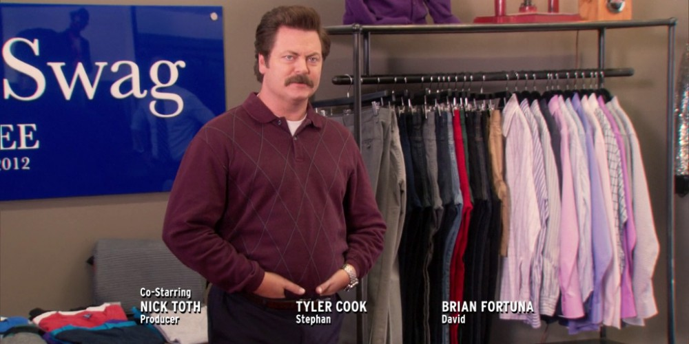 Ron Swanson looks over the finished Rent-A-Swag store