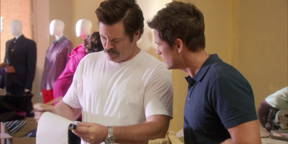 Ron Swanson tasks Chris with some very important building plans picture1