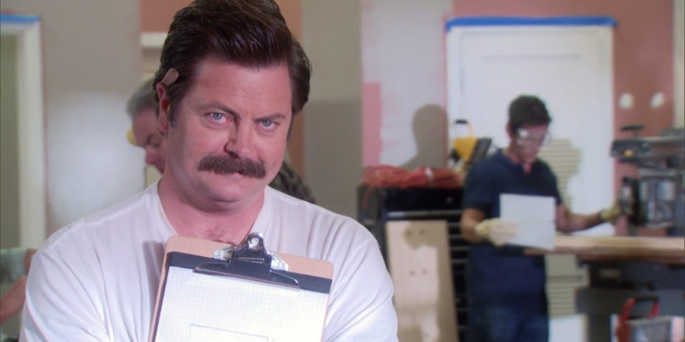 Ron Swanson tasks Chris with some very important building plans picture2