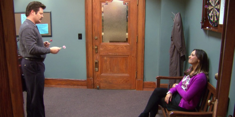 Ron Swanson kicks Ann out of his office