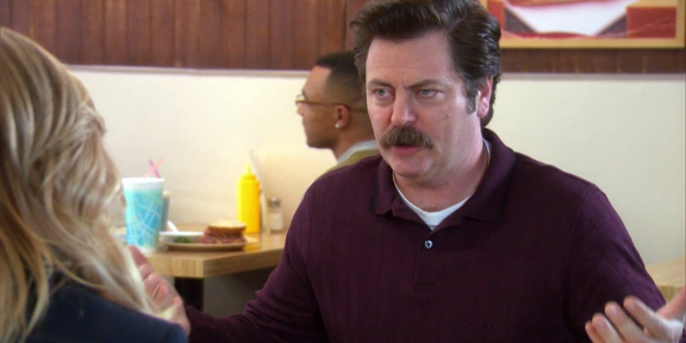 Ron Swanson explains his stance on capitalism and world economics to Leslie