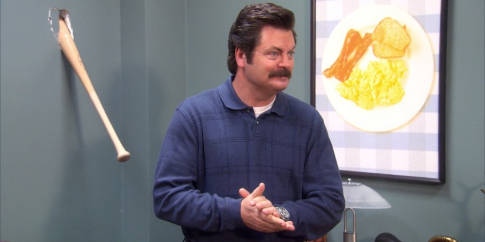 Ron Swanson put his baseball bat through the wall