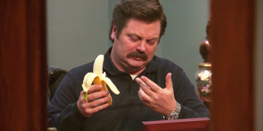 Ron Swanson eats a banana picture2