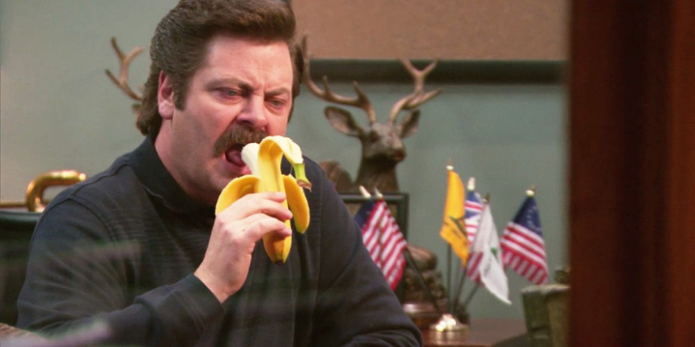 Ron Swanson eats a banana picture3