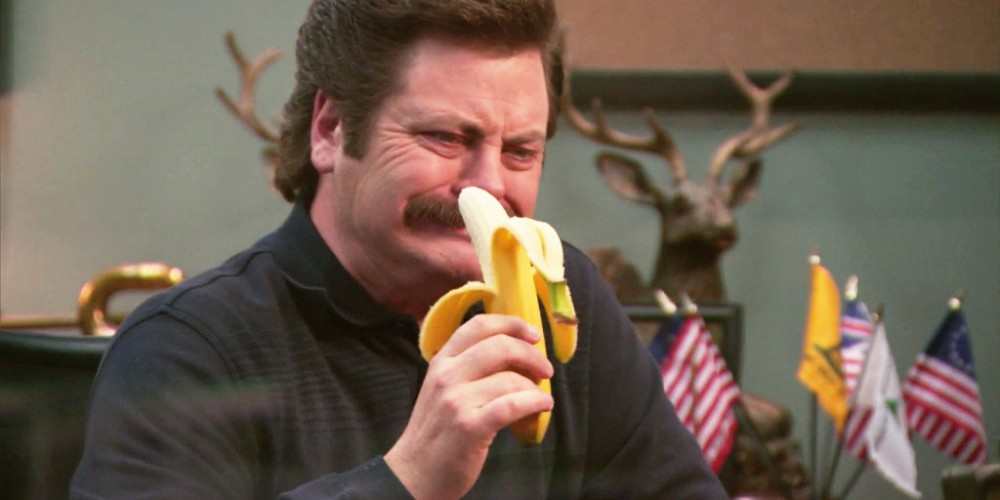 Ron Swanson eats a banana picture4