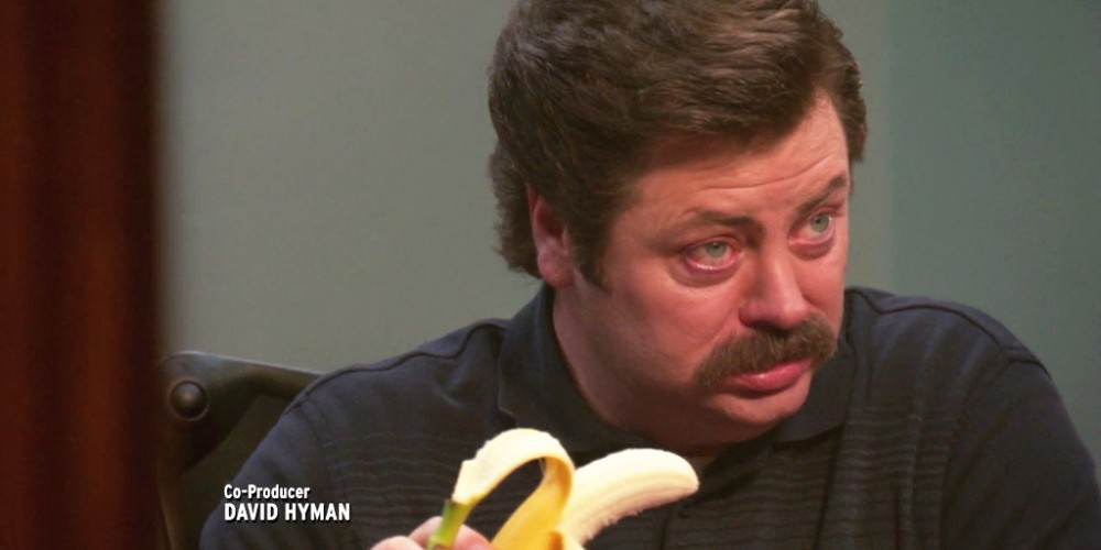 Ron Swanson eats a banana picture5