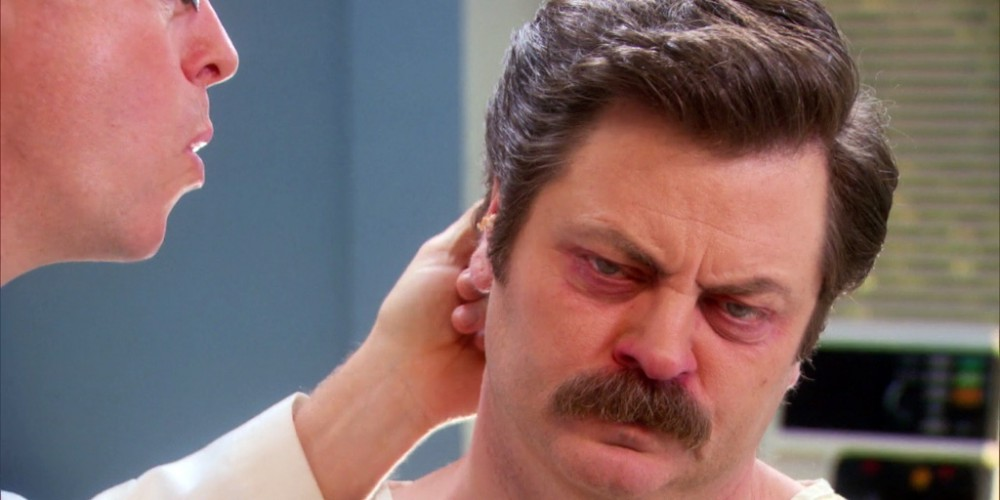 Ron Swanson has sawdust build-up in his ears picture2
