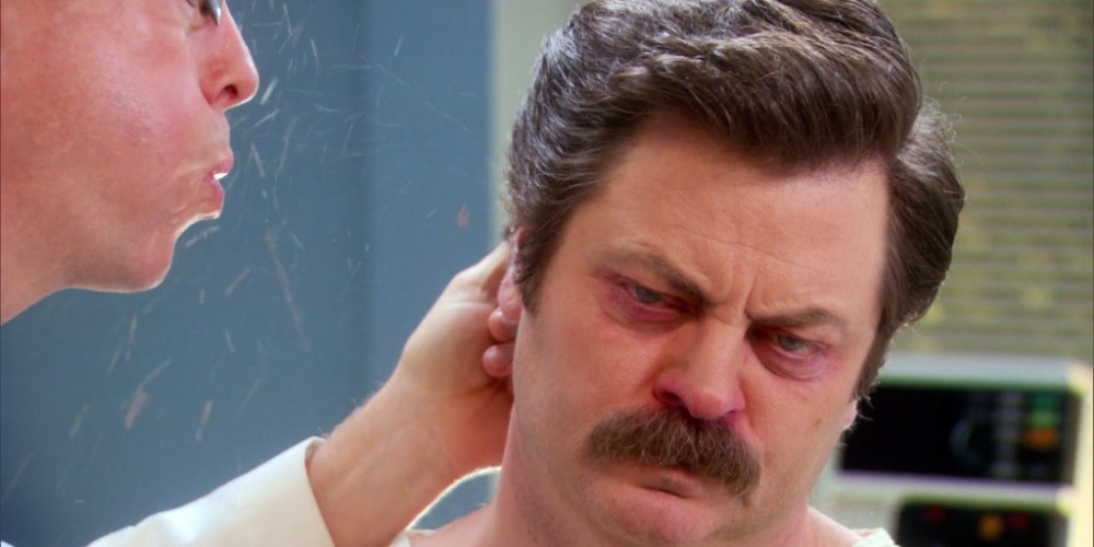 Ron Swanson has sawdust build-up in his ears picture3