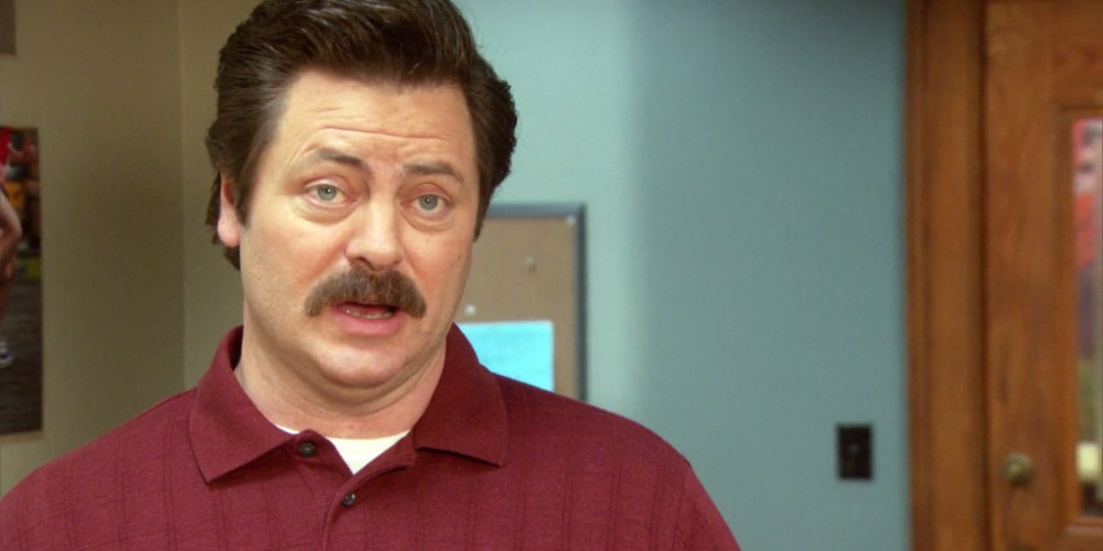Ron Swanson works hard to make sure nothing gets done.