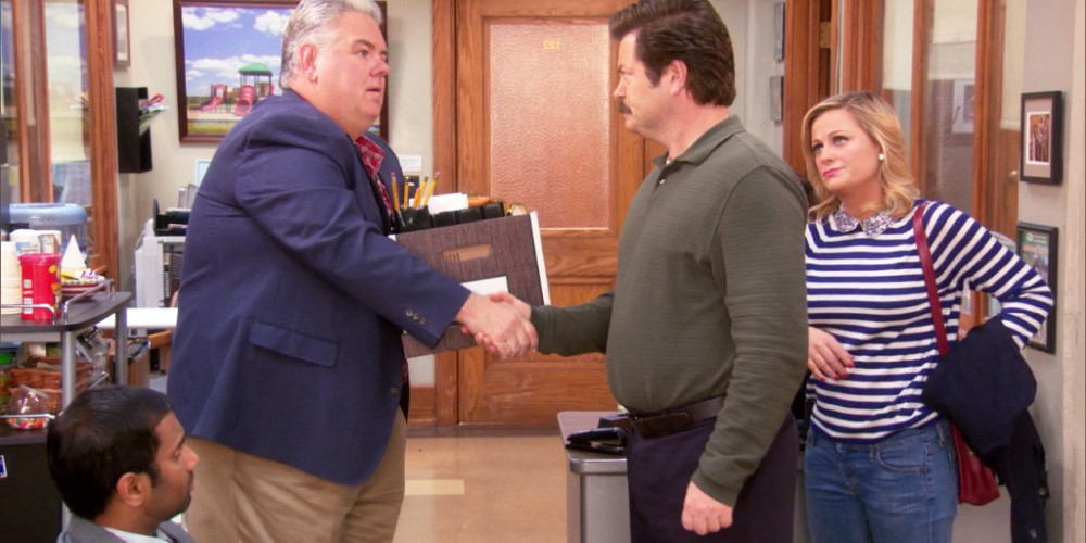 Ron Swanson thanks Jerry, and gives him a heartfelt goodbye