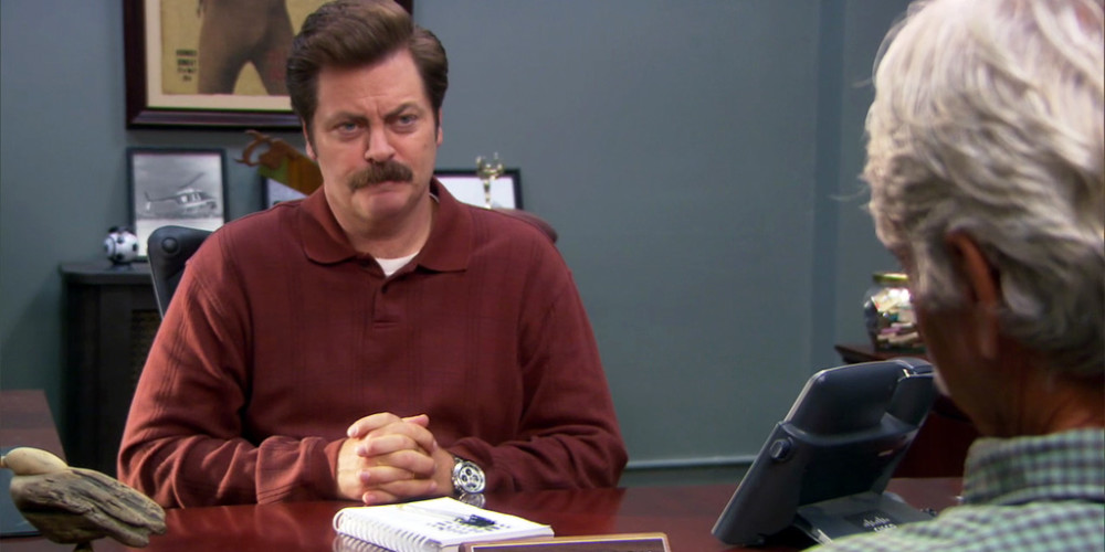 Ron Swanson is introduced to the Eagleton Director of the Parks Department Ron Dunn
