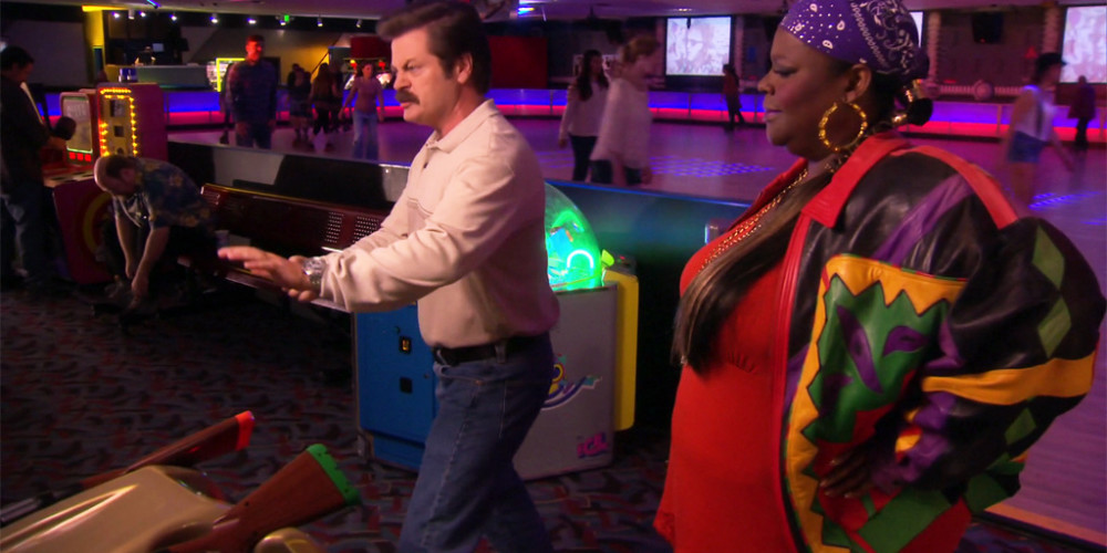 Ron Swanson is not very good at Deer Hunter and wants to destroy machine