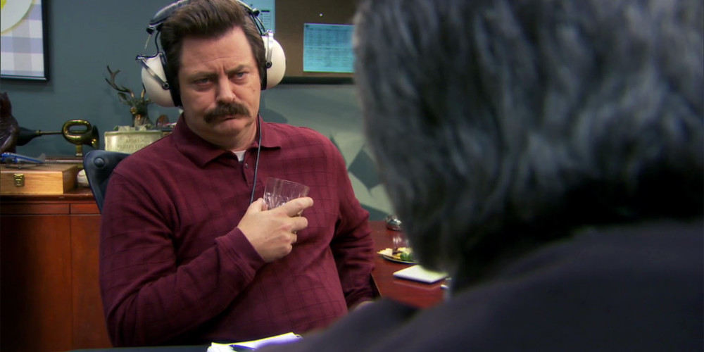 Ron Swanson enjoying his headphones picture2
